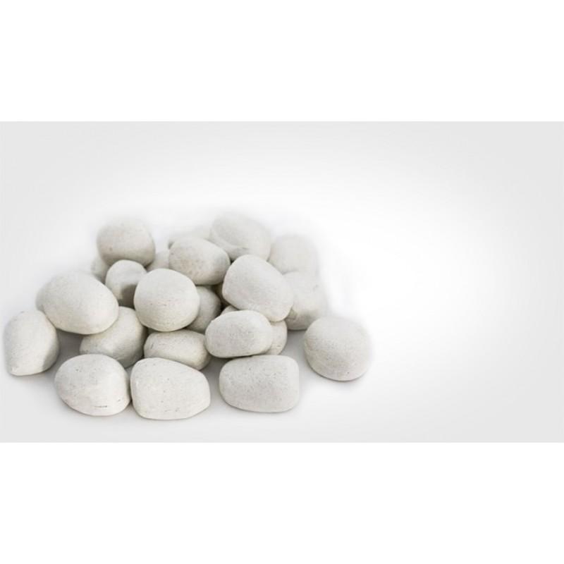 Galet decoratif cheminee ethanol lot de 24 gris ou blanc - Galet blanc decoratif ...